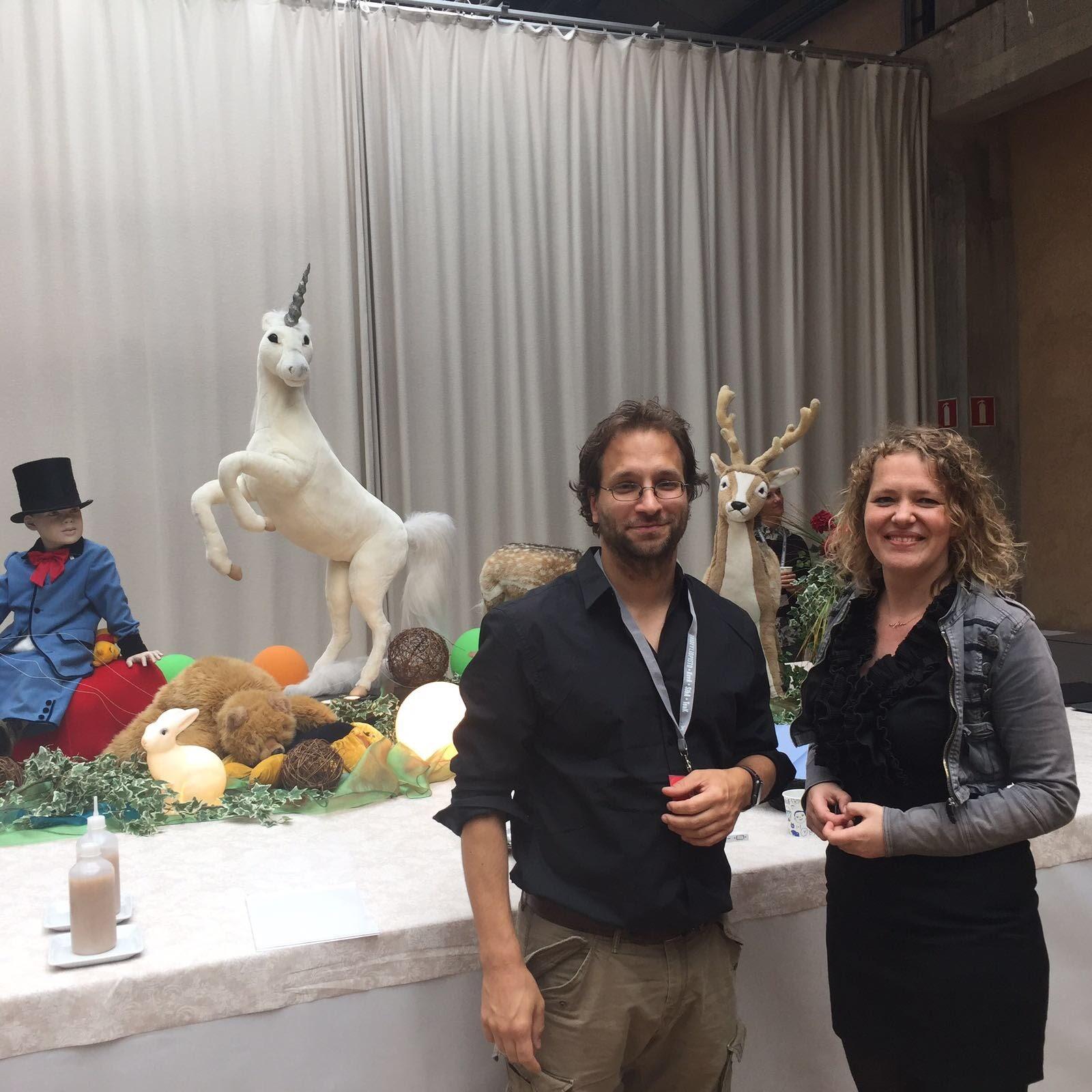 From right to left: Marieke Nooren, Falk Hübner & the Unicorn.