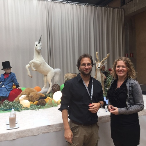 From right to left: Marieke Nooren, Falk Hübner & the Unicorn.