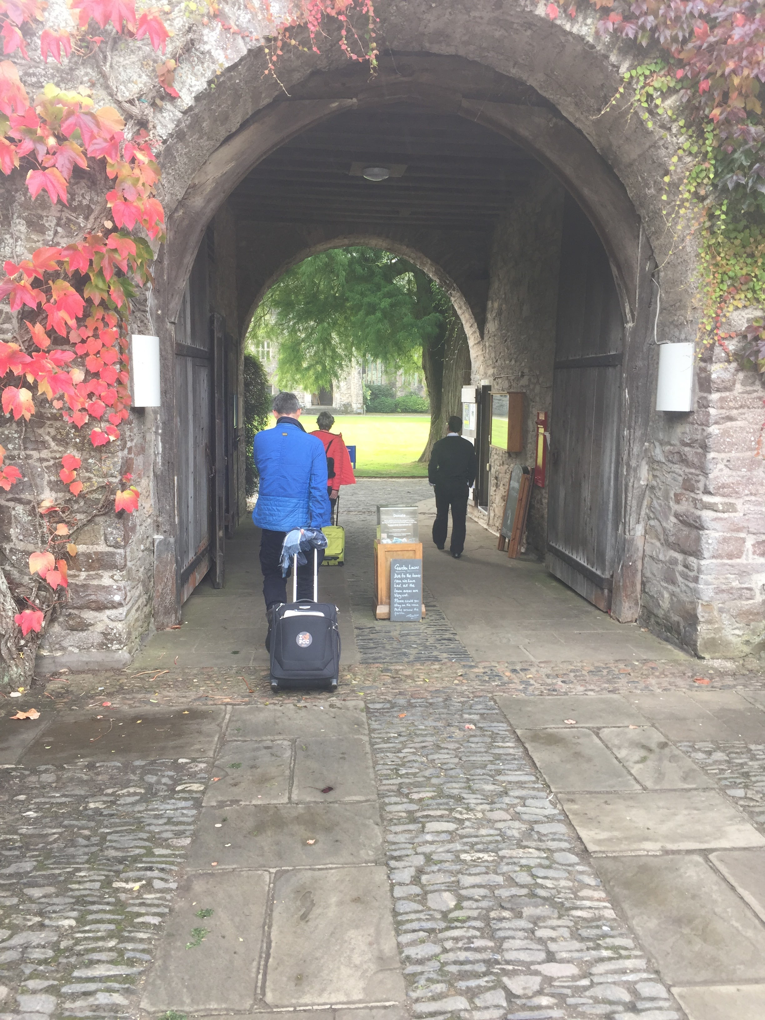 Arriving at Dartington Hall.